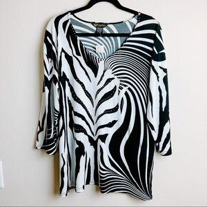Valentina Zebra Print 3/4 Sleeve Plus Size Blouse